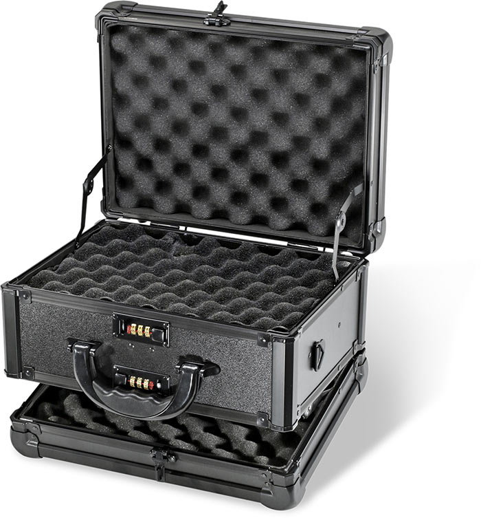 DOUBLE SIDED HANDGUN CASE - ALL BLACK - BLACK POWDER COATED ALUMINUM FRAME - REINFORCED METAL CORNER