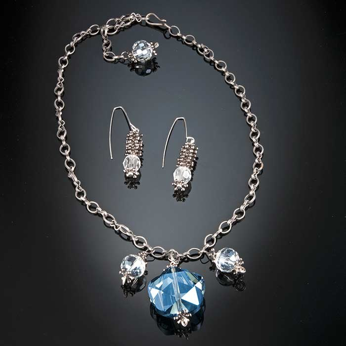 Midnight Blue Sky & Stars Jewelry Set