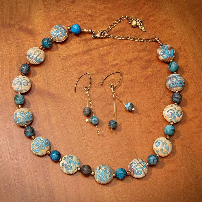 Swirled Chinese Porcelain Lace Blue Agate Jewelry Set