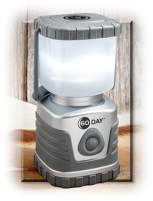 60 DAY LANTERN - SILVER CASE - TAKES 6 D BATTERIES NOT INCLUDED - 4 5/8 X 9 1/4 X 4 5/8 - HIGH / MED