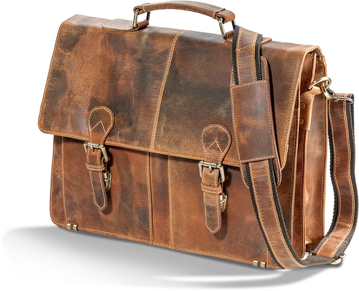 Rugged Water Buffalo Briefcase with metal brass brass hardware and buckles