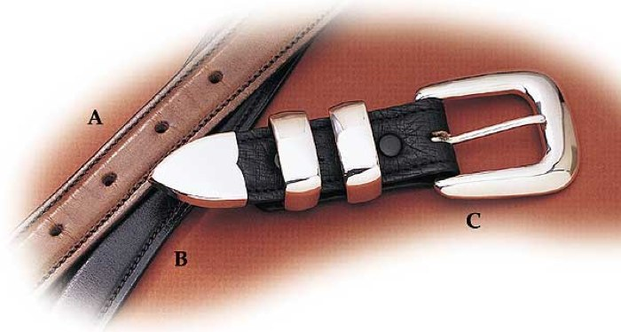 "Chestnut 1-1/4"" x 1"" Handcrafted Leather Belt - Size 28"