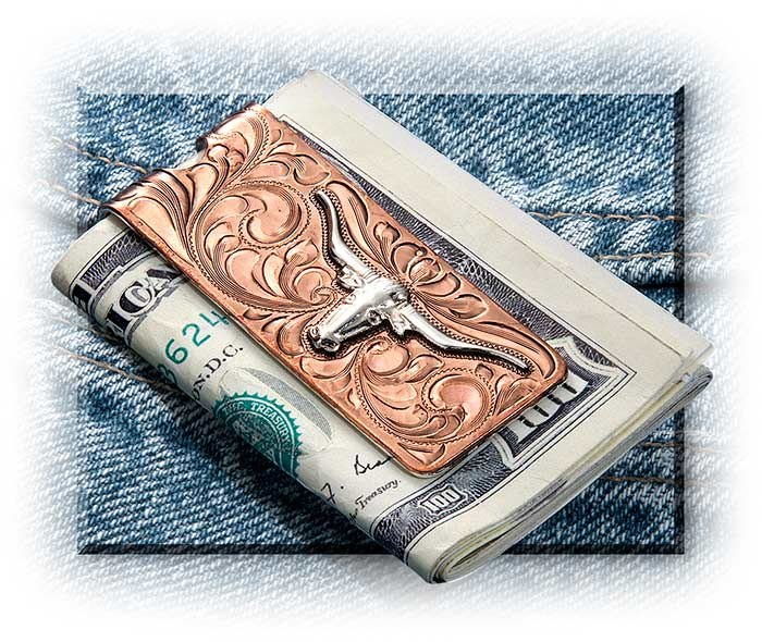 Longhorn Silver & Copper Money Clip