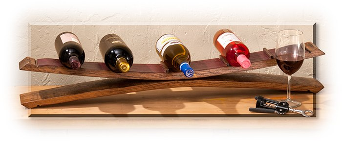 FIVE WINE RACK - WINE BARREL STAVES - HOLDS 5 BOTTLES - 36 3/4 X 5 3/4 X 4 - USA