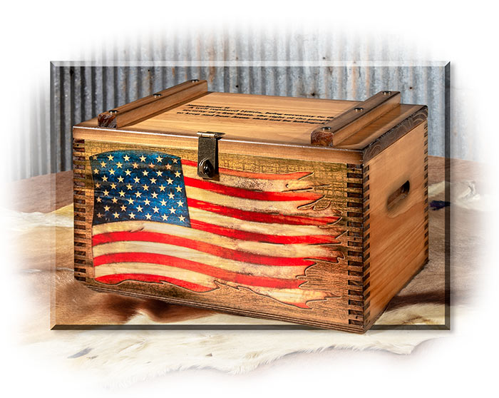Second Amendment Wooden Ammo Box with American Flag on side - Vintage Editions chest