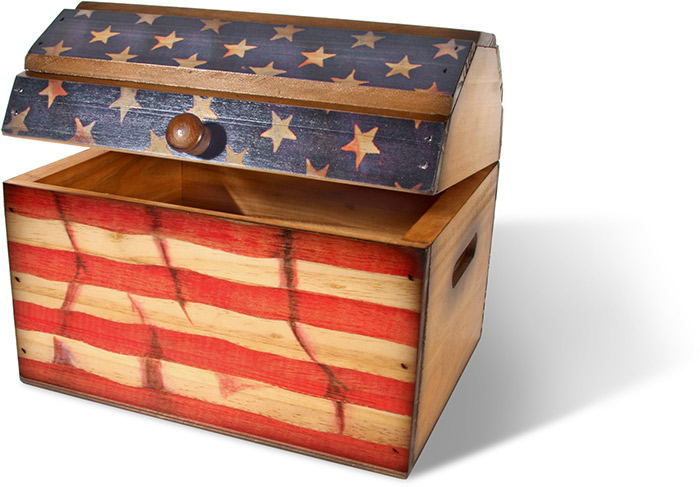 Domed Lid Box with American Flag