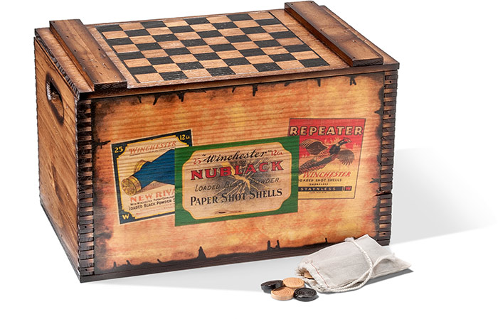 Checkerboard Storage Box with Wooden Checkers