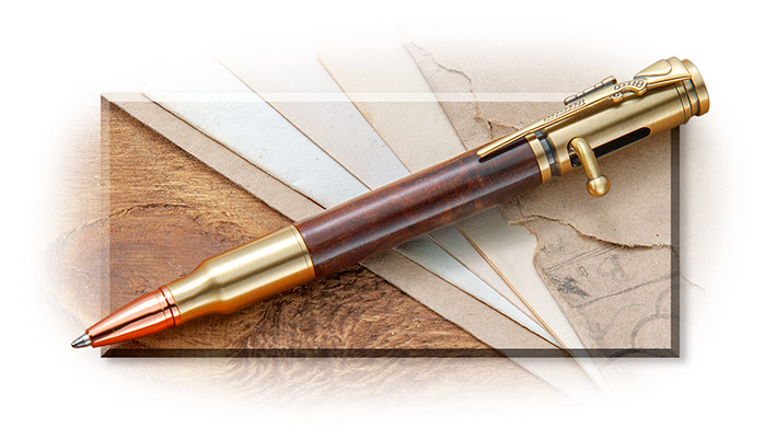 BOLT ACTION DESERT IRONWOOD PEN - RIFLE CLIP - BRASS DETAILS - COPPER TIP
