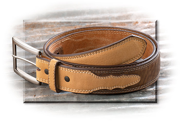 ELEPHANT PRINT LEATHER BELT-WHISKEY BROWN W/TAN OVERLAY-1 1/2INCH WIDE - SILVER TONE BUCKLE