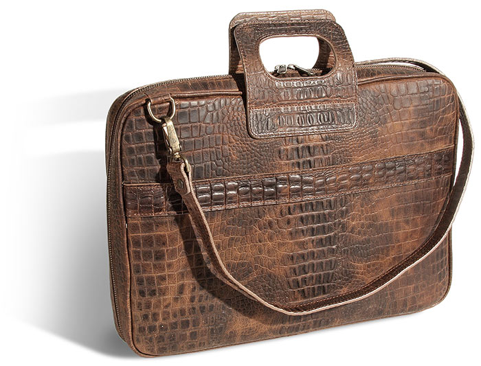 Faux Alligator Leather Briefcase