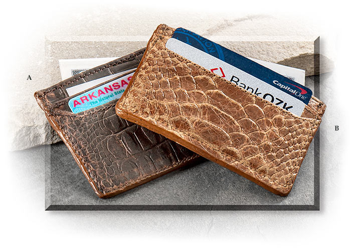 Embossed Leather Card Wallets Gator Pattern