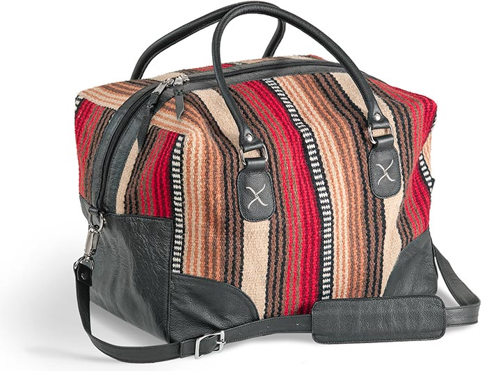 SADDLE WOOL & GENUINE LEATHER OVERNIGHTER - RED, BROWN, BLACK & WHITE WITH BLACK TRIM - WOOL SADDLE