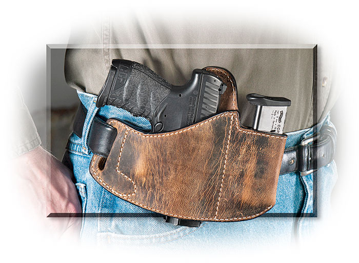 DISTRESSED LEATHER HOLSTER WITH MAGAZINE POUCH - FOR RIGHT-HAND CARRY