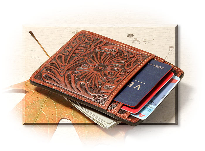 MONEYCLIP - TOOLED BROWN LEATHER - WESTERN FLORAL PATTERN