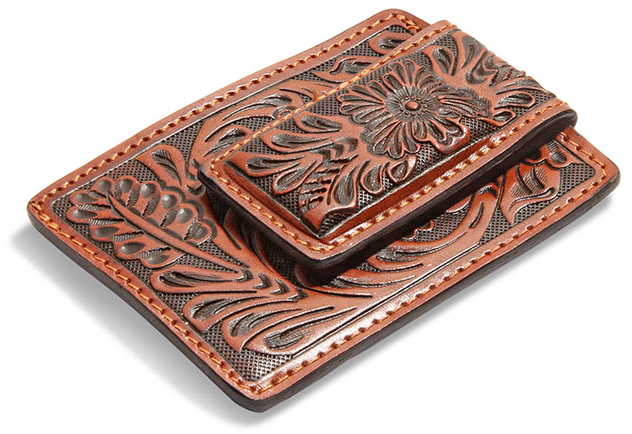 Tooled Leather Money Clip