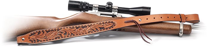 Adjustable Tooled Leather Rifle Sling