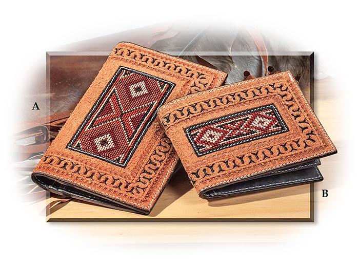 Western Style Beaded Leather Wallets