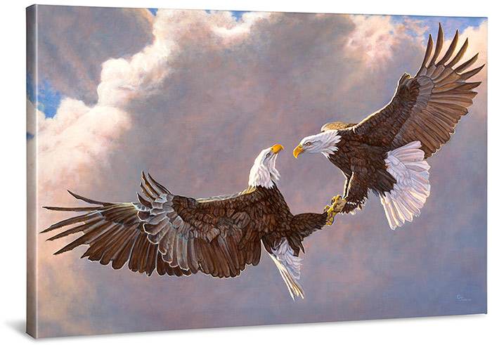 *DS* CLASH OF THE TITANS - WRAPPED CANVAS GICLEE PRINT - 24X36 BALD EAGLES PRINT