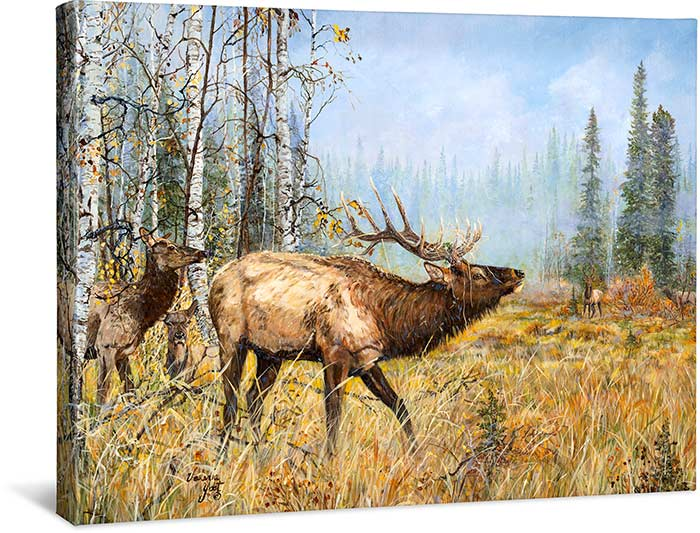TROUBLE BREWIN' BY VALERIA YOST - ELK - WRAPPED CANVAS PRINT - 24 X 19 - PRINTED WITH FADE-RESISTANT