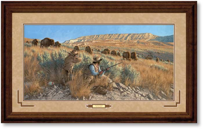 BUFFALO HUNTERS PRINT FRAMED - MICHAEL SIEVE - 250 PIECE LIMITED EDITION - SIGNED AND NUMBERED - 29