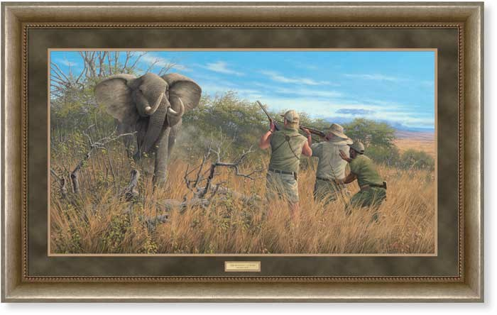 THE ELEPHANT HUNTER - BY MMICHAEL SIEVE - 250 PIECE SIGNED AND NUMBR LITHOGRAPH ON PAPER - 18 1/4 X