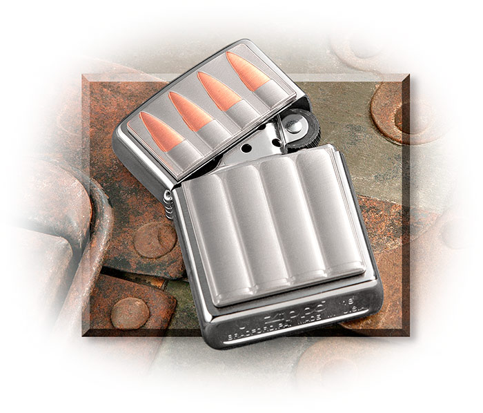 BULLETS ZIPPO LIGHTER - BRUSHED CHROME LIGHTER - GENUINE COPPER ACCENTS - CHROME PLATED BRASS CASE