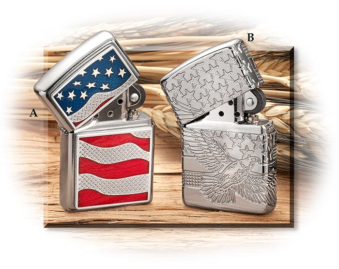 Zippo American Flag Lighter diamond plate